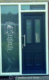 At Home... met namen en huisje in vierkant (lettertype en huisje naar keuze)