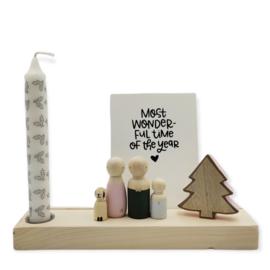 Kerst houten standaard met dinerkaars, boom en quote