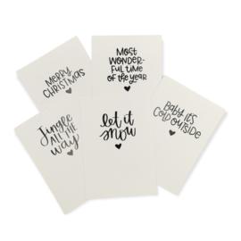 Kerst Quotes 8,3 x 11 cm set van 5 kaarten
