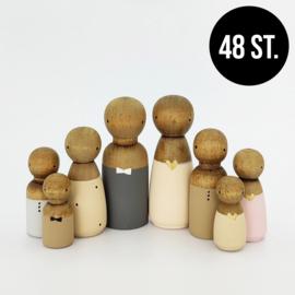 Startset/aanvulling getinte houten poppetjes (48st.)