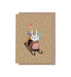 Sledding Greeting Card- Little Otja