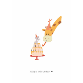 HAPPY BIRTHDAY TAART & GIRAFFE - Nadine Illustraties