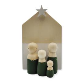 Kerst houten huisje met ster