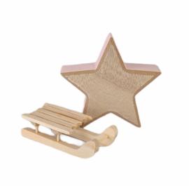 Kerst-collectie Aanvulling houten ster/slee 5x