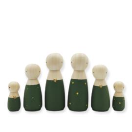 Kerst houten pop vrouw/meisje groen