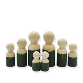 Kerst houten pop man/jongen groen