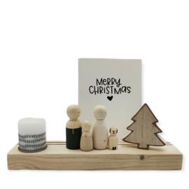 Kerst houten standaard met kaars, boom en quote