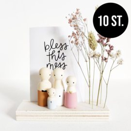 BASIC Hout standaard quote & bloemen (10st.)