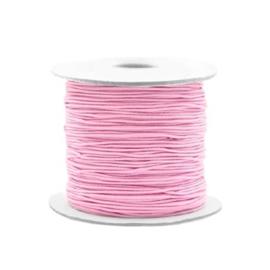 Vriendschapsarmbandjes 2x licht roze elastiek + witte kraal met zwart hartje