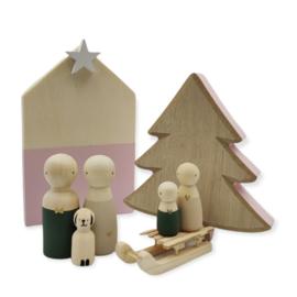 Kerst houten setje huisje, boom & slee