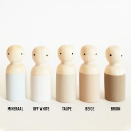 NATURE Houten pop man/jongen off white