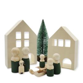 Kerst set van twee huisjes met boom en slee