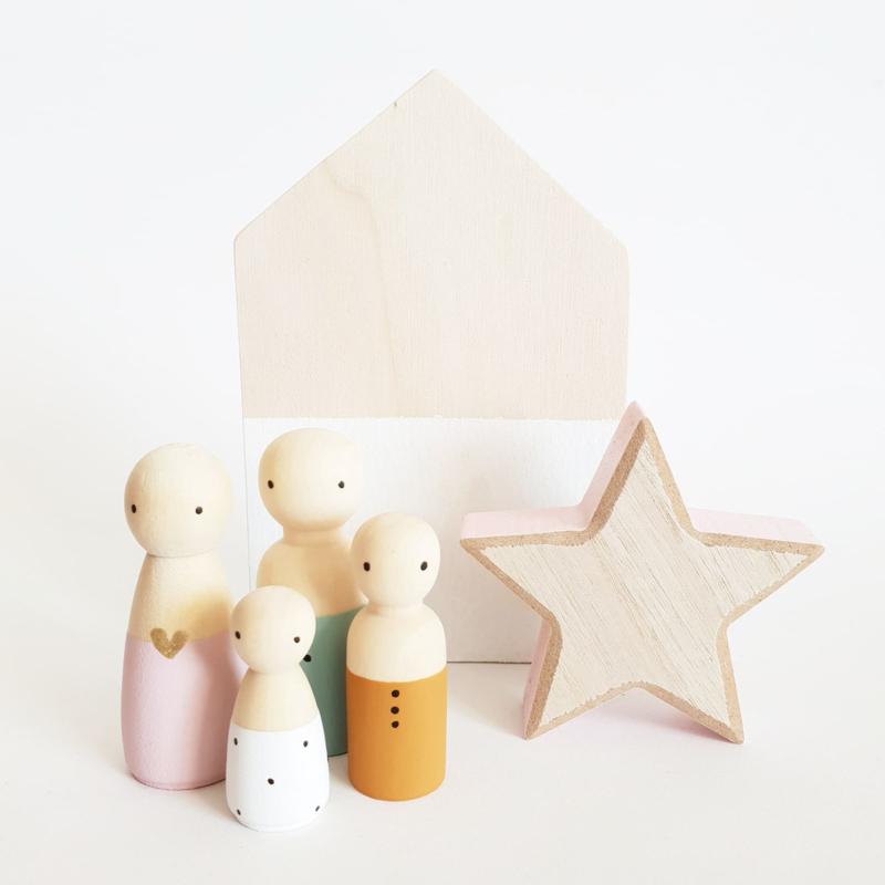 BASIC Houten huisje grijs/wit/roze