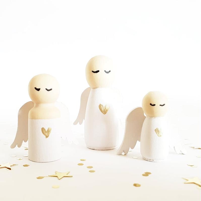 Houten poppetje engel, engeltje, cadeau engeltje | Sweet Petite Jolie