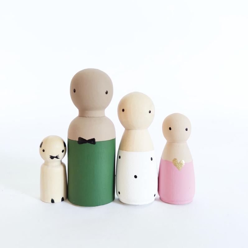 Huidskleur houten poppetje, houten popjes, houten gezin | Sweet Petite Jolie