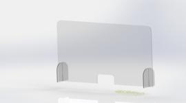 Bureau Plexiglas preventiescherm – vrijstaand op poten