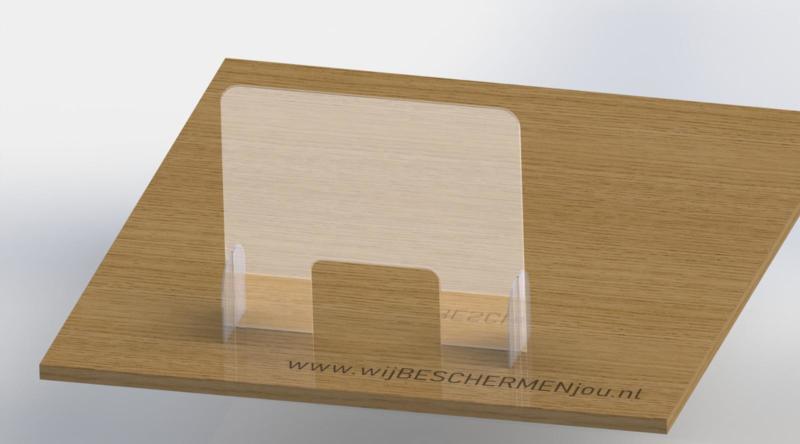 Nagelstudio - Plexiglas preventiescherm – vrijstaand op poten - 75 x 65 cm