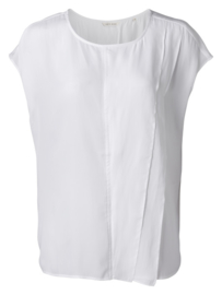 Mouwloze ruffle top pure white