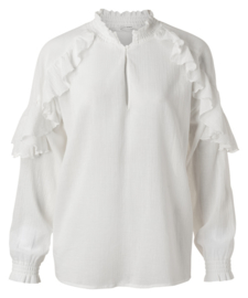 Top with ruffles - pure white
