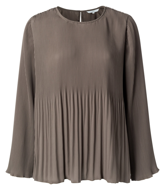 Chocolade plisse-blouse