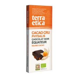 Pure chocolade met rauwe cacao en physalis