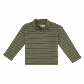 Kidwild // Organic mock neck top- forest stripe