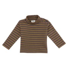 Kidwild // Organic mock neck top- toffee stripe