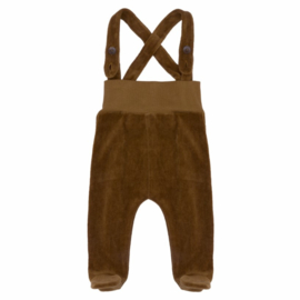 Kidwild // Organic velour footed dungarees - toffee