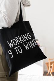 Katoenen tas - Working 9 to Wine