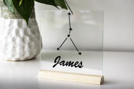 Glasplaat met sterrenbeeld