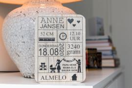 Geboortebord 'Anne'