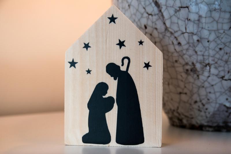 Houten huisje kerst