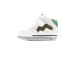 Shoesme Babyproof witte sneaker met bruine striping