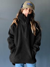 Clou oversized pile jacket zwart