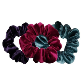 Luxe Velvet Scrunchie 3-Pack (Wild Berry)
