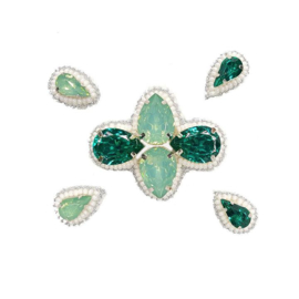 Naomi- Bandless, Clipless Jewels (Set of 5 ) - Emerald