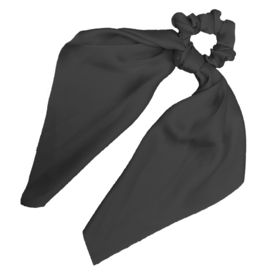 Sweet Sixteen - Zijde Scrunchie met lint (zwart)