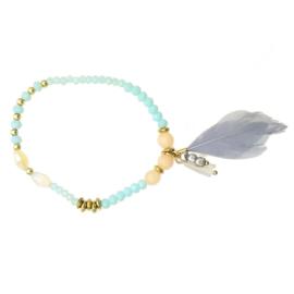 Zigi - Elastiek Armband (Grijs / Aqua)