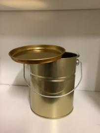 metalen goudkleurige honingemmer inhoud 2,5 kilo