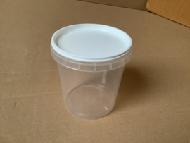 transparante honingpot met witte deksel 750 ml (=1 kilo)