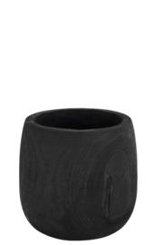 Bloempot rond zwart hout 27x27x27