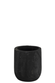 Bloempot rond zwart hout 20x20x22