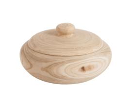 Pot met deksel natuur hout 31x31x13
