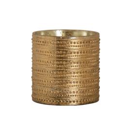 Theelichthouder goud dots reliëf