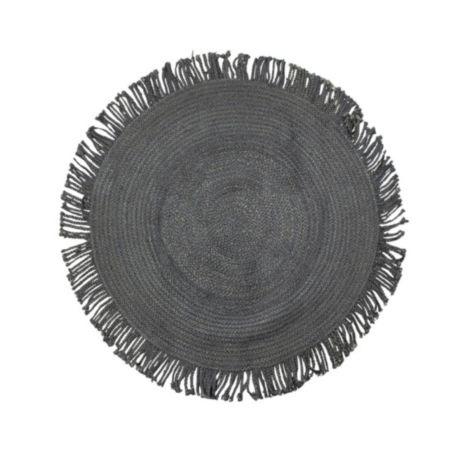 Jute tapijt zwart 120 cm