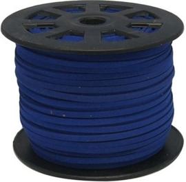 Faux Suede koord Plat - Donker kobaltblauw (dark cobaltblue) 3x1.4mm