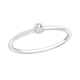 Zilveren Ring met Blanke Zirkiona - 925 sterling zilver