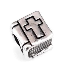 Metalen kraal met groot gat - Bijbel - 9x8x7mm - gat 5mm
