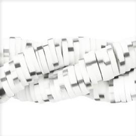Katsuki schijfkraal 6mm Wit /Grijs - ca 70 stuks of hele streng