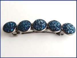 Haarknip Gunmetal met 5  Resin Cabochons - 2 kleurvarianten